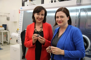 Pictured are Minister Susan Close and Prof Tanya Monro examining the first metal 3D printed objects from the new Phenix Metal and Ceramic 3D printer