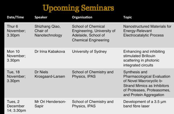 Seminars - upcoming 28 Oct