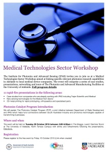 Medical Technologies Workshop 20 Oct 15